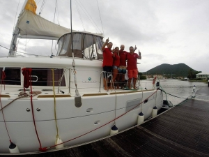 Victorious! The British team of Hardy's & crew triumphed with their fully-kitted Lagoon 450F at the ARC Atlantic Rally: 1st to arrive in St. Lucia. 55 knots - no problem!
